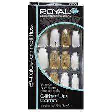 Royal Bílé Matné A Zlaté Umělé Nehty Sada S Lepidlem Glitter Me Up Coffin False Nails 24ks A Lepidlo