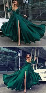 elegant long sleeves <b>dark green</b> prom dress with split, fashion v ...