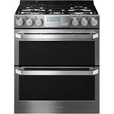 stove and refrigerator. gas double oven slide-in range with stove and refrigerator .