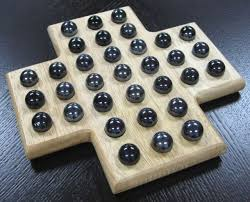 Wooden Sequence Board Game Cross Solitaire Wooden Wood Board Game Set Black Marble Pieces Fun 26