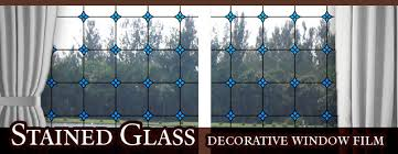 leaded glass decorative window ocean blue static cling window