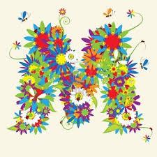 M Lettering Design Stock Vector Lettering Design Lettering Floral Design