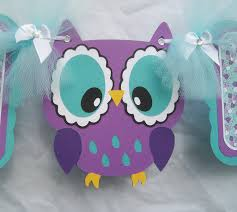 Turquoise Baby Shower Decorations Purple Owl Baby Shower Banner Its A Girl Banner Purple Teal
