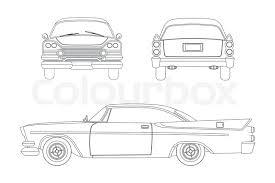 car outline front. Delighful Car Outline Drawing Of Retro Car Vintage Cabriolet Front Side And Back View  Vector Illustration Vector Intended Car Front N