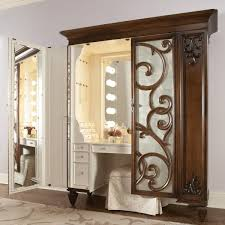 Vanity Set With Lights For Bedroom With Awesome Wooden Carving ...