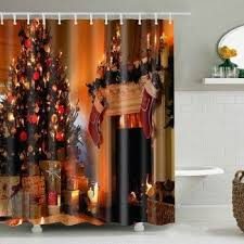 Bathroom <b>Decor Christmas Printed Waterproof</b> Shower Curtain ...