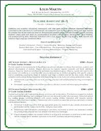 Resume Examples For Teachers With Experience Stunning Teacher Assistant Resume Datainfo