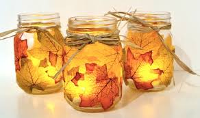 fall mason jars with raffia