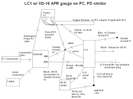 my power fc lc 1 datalogit wiring diagram rx7club com this is a wiring diagram for a power fc lc 1 wideband the xd 16 afr gauge a datalogit and a commander it is for the 7 wire lc 1 that most people