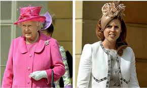 queen elizabeth princess beatrice wear colorful hats to palace garden party