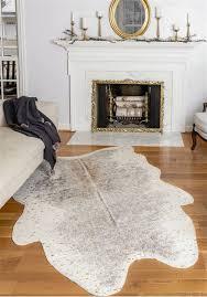 gold metallic faux cowhide rug 2