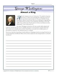 washington s birthday worksheet almost a king writing prompt george washington almost a king