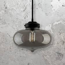 industrial smoked glass pendant light