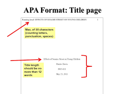Apa Coverpage Format Apa Format Title Page Running Head Effects Of Sesame