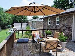 Creativity Patio Furniture Umbrella With Wooden Deck And Fence Design For Intended Modern Ideas