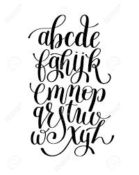 Black And White Hand Lettering Alphabet Design Handwritten Brush