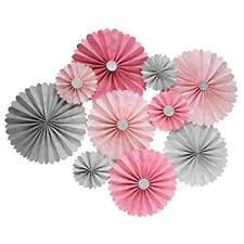 Paper Rosette Flower Amazon Com Mybbshower Pink Silver Paper Rosette Wedding Background