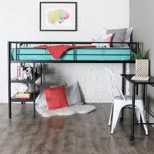 walker edison twin low loft bed with rolling desk