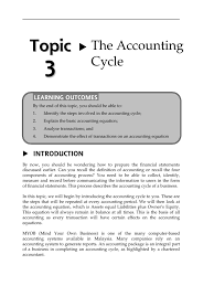 by the end of this topic you should be able to 1 identify the steps involved in the accounting cycle 2 explain the basic accounting equation
