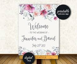 Welcome Sign Printable Floral Wedding Welcome Sign Bridal Or Baby
