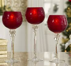 large red hurricane candle holders