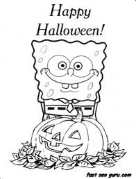 Small Picture Printable Happy halloween spongebob coloring in pages Printable