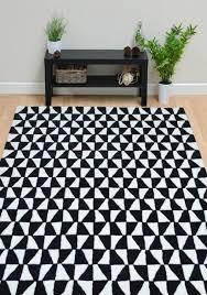 geometric geo01 black white wool rug