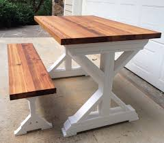Trestle table with bench Farm Trestle Farm Table Yellow Chair Market Trestle Farm Table And Bench Swasono Trestle Farm Table Swasono