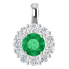 14kt white gold round emerald and