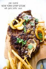 pan seared new york strip steak with