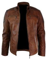 mens cafe racer biker vintage motorcycle waxed brown leather jacket at men s clothing
