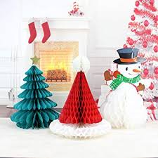 Paper Flower Christmas Tree Kingus Christmas Honeycomb Pull Flower Christmas Tree Snowman 3d