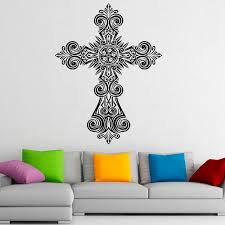 cross wall decals christ religion pvc wall sticker home decoration living room sticker wedding decoration wall stickers chandelier wall decal from