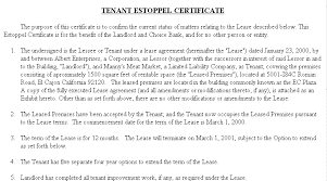 Example Document For Estoppel Certificate