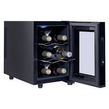 costway 6 bottle thermoelectric wine cooler freestanding temperature display glass door 0