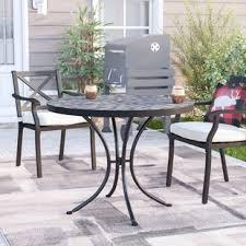 Round outdoor metal table Coffee Sequoyah Outdoor Dining Table Wayfair Outdoor Glass Top Dining Table Wayfair