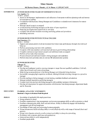 Junior Recruiter Resume Samples Velvet Jobs