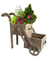 wood wheelbarrow planter