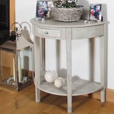 vintage sand mango wood half moon console table round with side plan 10