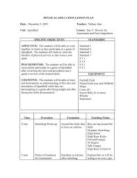 Pe Lesson Plan Physical Education Lesson Plan Date Franklin College