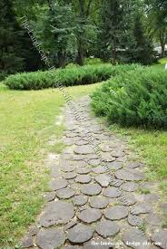Small Picture log rounds turned into garden pavers and pathways YES