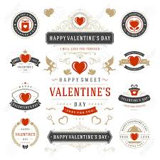 valentine s day labels and cards set heart icons symbols greetings cards silhouettes