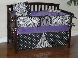 ornate black and white baby crib bedding set with purple reverse sider patriotic 24c cool