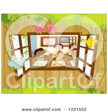 classroom window clipart. classroom window with birds foliage and children by graphics rf clipart -