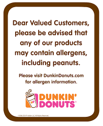 Dunkin Donuts Allergen Chart Lane Printing Advertising Complete Printing Signage