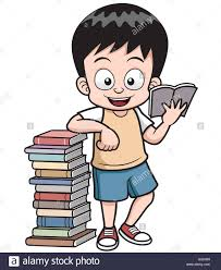 vector ilration of cartoon boy reading book