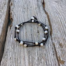 seaside pearls jana triple wrap freshwater pearl and leather anklet ankle bracelet
