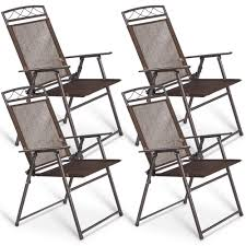 set of 4 patio folding sling chairs