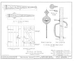 file drawing of door and latch details in the bolduc house in ste genevieve mo