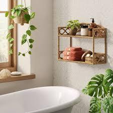 rattan wall hanging shelf tan